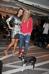 Left to right, MARIA HATZISTEFANIS and MEG MATHEWS with her dog Oscar at the NIP+FAB Bright Young Things Beauty Workshop Tea Party held at the W Hotel, Wardour Street, London W1 on 24th November 2012.
