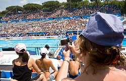 Fan filming during the 13th FINA World Championships Roma 2009, on July 26, 2009, at the Stadio del Nuoto,  in Foro Italico, Rome, Italy. (Photo by Vid Ponikvar / Sportida)