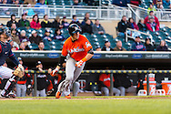 Chris Coghlan #8 of the Miami Marlins bats against the Minnesota Twins in Game 2 of a split doubleheader on April 23, 2013 at Target Field in Minneapolis, Minnesota.  The Marlins defeated the Twins 8 to 5.  Photo: Ben Krause