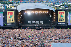 Ed Sherran on the main stage, seen from the Giant Wheel, Friday T in the Park 2014.<br /> © Michael Schofield.