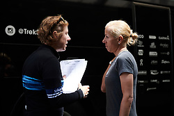 Trek-Segafredo DS, Ina-Yoko Teutenberg and Trixi Worrack (GER) chat ahead of Stage 2 of 2019 OVO Women's Tour, a 62.5 km road race starting and finishing in the Kent Cyclopark in Gravesend, United Kingdom on June 11, 2019. Photo by Sean Robinson/velofocus.com