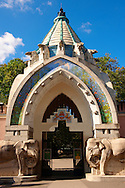 Budapest Zoo & Botanical Garden (F?városi Állat- és Növénykert) art nouveau entrance. Hungary .<br /> <br /> Visit our HUNGARY HISTORIC PLACES PHOTO COLLECTIONS for more photos to download or buy as wall art prints https://funkystock.photoshelter.com/gallery-collection/Pictures-Images-of-Hungary-Photos-of-Hungarian-Historic-Landmark-Sites/C0000Te8AnPgxjRg