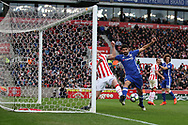 Diego Costa of Chelsea is blocked by Ryan Shawcross of Stoke city.  Premier league match, Stoke City v Chelsea at the Bet365 Stadium in Stoke on Trent, Staffs on Saturday 18th March 2017.<br /> pic by Andrew Orchard, Andrew Orchard sports photography.