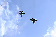 U.S. military jets do a fly over during the playing of the National Anthem before the Denver Broncos 2017 NFL week 3 regular season football game against the against the Buffalo Bills, Sunday, Sept. 24, 2017 in Orchard Park, N.Y. The Bills won the game 26-16. (©Paul Anthony Spinelli)