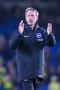 Graham Potter, Head Coach of Brighton & Hove Albion FC thanking the Brighton & Hove Albion FC supporters in the North Stand following the Premier League match between Brighton and Hove Albion and Norwich City at the American Express Community Stadium, Brighton and Hove, England on 2 November 2019.
