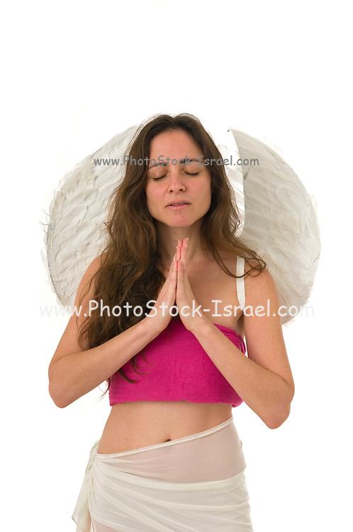 innocent angel On white Background