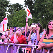 BOYZONE fans screaming like mad at Shane Lynch, Mikey Graham, Ronan Keating, Keith Duffy perform live at Kew The Music Festival 2018 on 14 July 2018, London, UK.