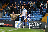 James Vaughan of Bury celebrates after scoring his teams 1st goal. EFL Skybet football league one match, Bury v Port Vale at Gigg Lane in Bury ,Lancs on Saturday 3rd September 2016.<br /> pic by Chris Stading, Andrew Orchard sports photography.