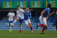 Football - 2020 / 2021 Emirates FA Cup - Round 2 - Portsmouth vs. Kings Lynn Town - Fratton Park<br /> <br /> Simon Power of Kings Lynn in action with Portsmouth's Tom Naylor during the FA Cup fixture at Fratton Park <br /> <br /> COLORSPORT/SHAUN BOGGUST