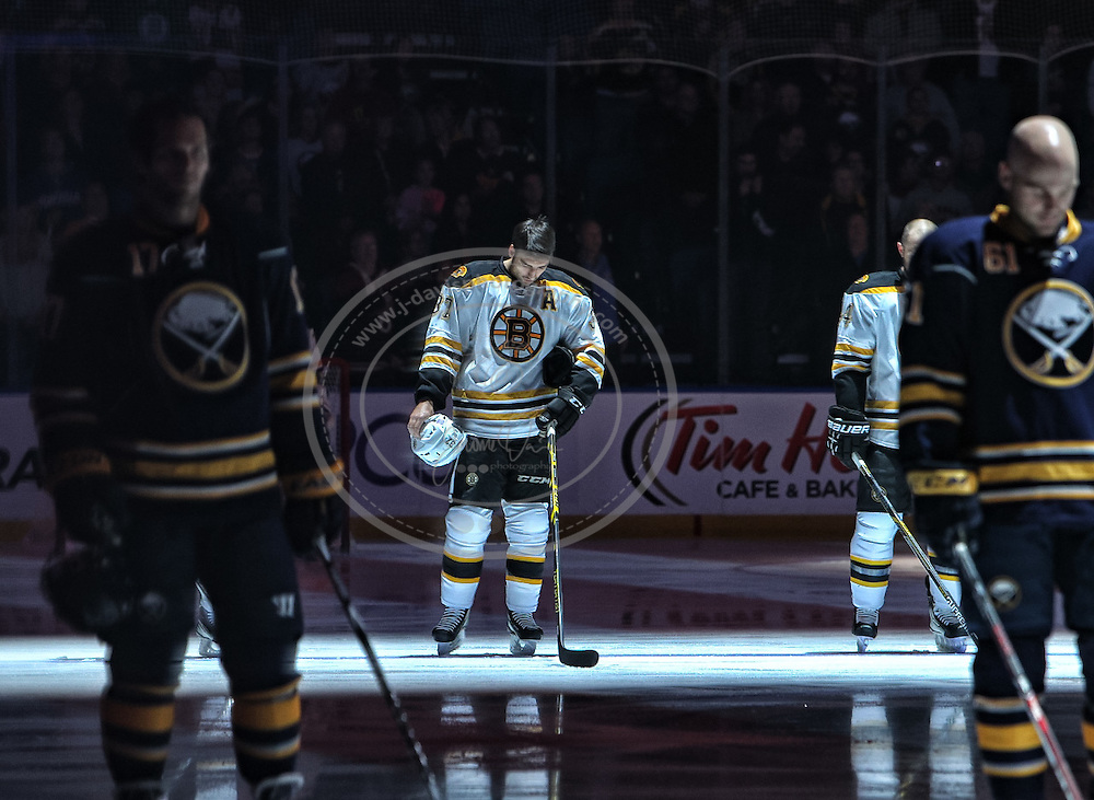 30 October 2014: \b in action during an NHL game between the  Boston Bruins and Buffalo Sabres at the First Niagara Center in Buffalo, NY.