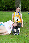 Deirbhíle Ryan Clonlara Clare and Rachel Clancy Querrin Co. Clare take a break at the  HSE Community Games National Finals 2010 in the AIT in Athlone. Photo:Andrew Downes