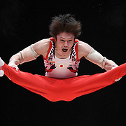 Kohei Uchimura of Japan performs on the Parallel Bars at the Men's Team Final at the 46th FIG Artistic Gymnastics World Championships in Glasgow, Britain, 28 October 2015.