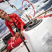 Leg 02, Lisbon to Cape Town, day 12, on board MAPFRE, Sophie Ciszek fixing a winch. Photo by Ugo Fonolla/Volvo Ocean Race. 16 November, 2017