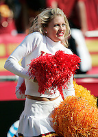 7 October 2006: Cheerleader Song Girl Natalie cheers during  NCAA College Football Pac-10 USC Trojans 26-6 win over the Washington Huskies at the LA Coliseum during a sunny saturday game in Los Angeles, CA.<br />