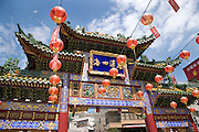Mazu Miao Chinese Temple gate in Yokohama Chinatown Japan