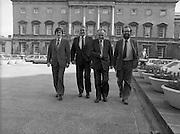 1983-11-83.11th Octoer 1983.11-10-1983.10-11-83...Photographed at Seanad Éireann..Striding Forward: ..Four members of Seanad Éireann enjoy the rare rays of an October sun outside the Upper House of the Oireachtas in Dublin....