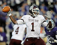 MANHATTAN, KS - OCTOBER 17:  Quarterback Jerrod Johnson #1 of the Texas A&M Aggies gets ready to throw a pass against the Kansas State Wildcats in the first half on October 17, 2009 at Bill Snyder Family Stadium in Manhattan, Kansas.  (Photo by Peter G. Aiken/Getty Images)