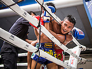 28 JULY 2013 - BANGKOK, THAILAND:  A boxer's head sticks out of the ring during the ASEAN Muay Thai Championship at MBK shopping center in Bangkok.      PHOTO BY JACK KURTZ