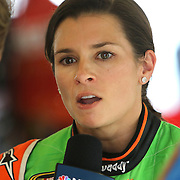 Sprint Cup Series driver Danica Patrick (10) drinks a Coke Zero with her name on it during the 57th Annual NASCAR Coke Zero 400 practice session at Daytona International Speedway on Friday, July 3, 2015 in Daytona Beach, Florida.  (AP Photo/Alex Menendez)