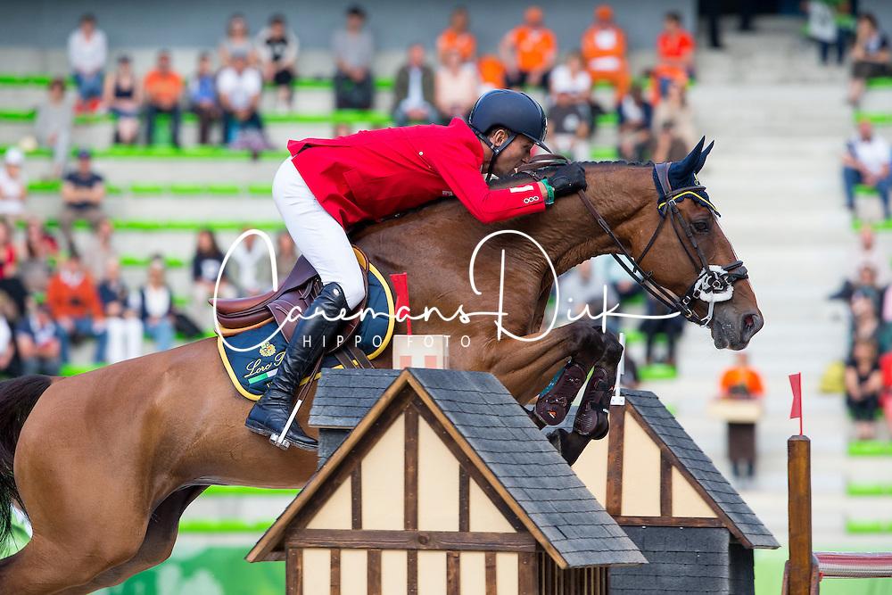 Luca Maria Moneta, (ITA), Neptune Brecourt - Team & Individual Competition Jumping Speed - Alltech FEI World Equestrian Games™ 2014 - Normandy, France.<br /> © Hippo Foto Team - Leanjo De Koster<br /> 02-09-14