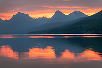 Red sky at dawn, Lake McDonald Glacier National Park Montana