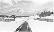 Looking south down the RGS track from the Lizard Head section house.<br /> RGS  Lizard Head, CO  Taken by Dunscomb, Guy L. - 5/4/1942