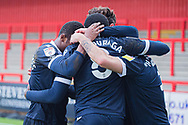 GOAL 1-1 Morecambe midfielder Toumani Diagouraga (8) celebrates after scoring the equaliser during the EFL Sky Bet League 2 match between Stevenage and Morecambe at the Lamex Stadium, Stevenage, England on 6 February 2021.