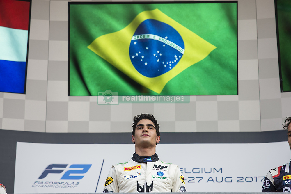 August 27, 2017 - Spa, Belgium - 14 SETTE CAMARA Sergio from Brasil of MP Motorsport celebrating his first victory in F2. during the FIA  Formula 2 championship at Circuit de Spa-Francorchamps on August 27, 2017 in Spa, Belgium. (Credit Image: © Xavier Bonilla/NurPhoto via ZUMA Press)