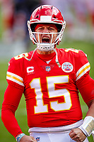 Kansas City Chiefs quarterback Patrick Mahomes (15) reacts during the  NFL divisional round football game against the Cleveland Browns, Sunday, Jan. 17, 2021, in Kansas City.<br /> <br /> By Tom DiPace
