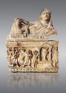 Etruscan Hellenistic style cinerary, funreary, urn , inv no 5774,  National Archaeological Museum Florence, Italy , against grey .<br /> <br /> If you prefer to buy from our ALAMY PHOTO LIBRARY  Collection visit : https://www.alamy.com/portfolio/paul-williams-funkystock - Scroll down and type - Etruscan Florence - into LOWER search box. (TIP - Refine search by adding a background colour as well).<br /> <br /> Visit our ETRUSCAN PHOTO COLLECTIONS for more photos to download or buy as wall art prints https://funkystock.photoshelter.com/gallery-collection/Pictures-Images-of-Etruscan-Historic-Sites-Art-Artefacts-Antiquities/C0000GgxRXWVMLyc