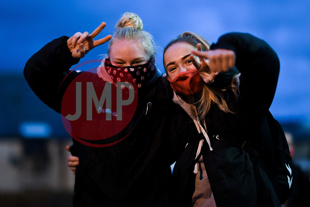 Jesse Woolley of Bristol City Women and Aimee Palmer of Bristol City Women arrives at Twerton Park prior to kick off - Mandatory by-line: Ryan Hiscott/JMP - 14/11/2020 - FOOTBALL - Twerton Park - Bath, England - Bristol City Women v Tottenham Hotspur Women - Barclays FA Women's Super League