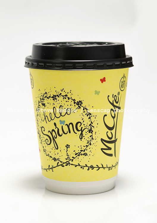 London, England - March 18, 2017: Cup of Mcdonald's McCafe Coffee, McCafe coffee is made by McDonald's, the largest fast food restaurant chain.