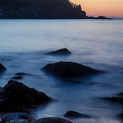 Dawn over the Atlantic Ocean in Maine's Acadia National Park. Sand Beach.