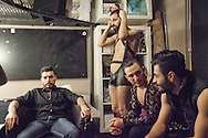 Omar (one from right) in the dressing room during the Mr Gay Syria contest, held in Istanbul in February 2016. Omar finished third place