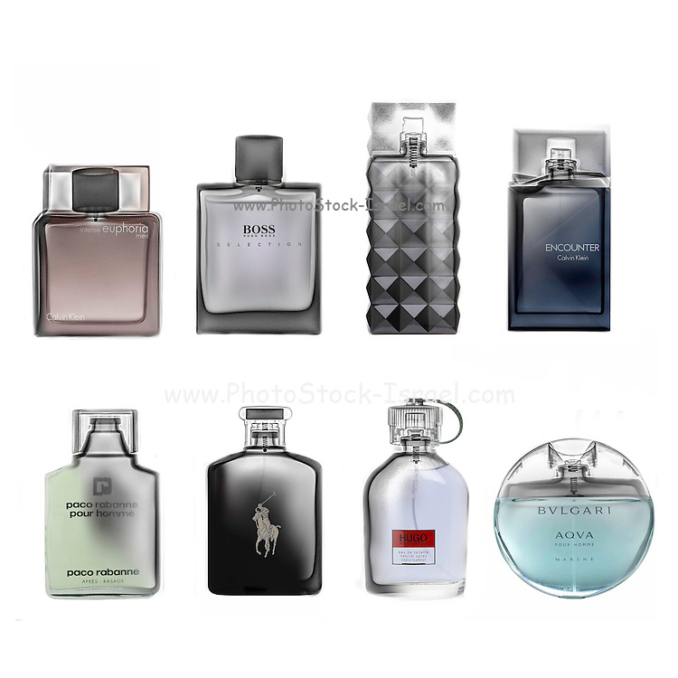 Various bottles of perfume under x-ray