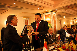 Ala'a Al-Aswany, a prominent Egyptian writer and founding member of the political movement Kefaya, is honored for his courageous writing in Cairo, Egypt on April 4, 2008. Trained as a dentist in Cairo and Chicago, Al-Aswany has contributed numerous articles to Egyptian newspapers on literature, politics, and social issues. His second novel, The Yacoubian Building, an ironic depiction of modern Egyptian society, has been widely read in Egypt and throughout the Middle East. It was translated into English and was adapted into a film (2006) and a television series (2007) of the same name. Chicago, Al-Aswany's latest novel, is set in the American city where he had attended college.