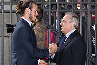Real Madrid CF presidents, Florentino Perez and Gareth Bale during the Real Madrid CF reception at Madrid city hall after winning the Champions League May 29,2016. (ALTERPHOTOS/Rodrigo Jimenez)