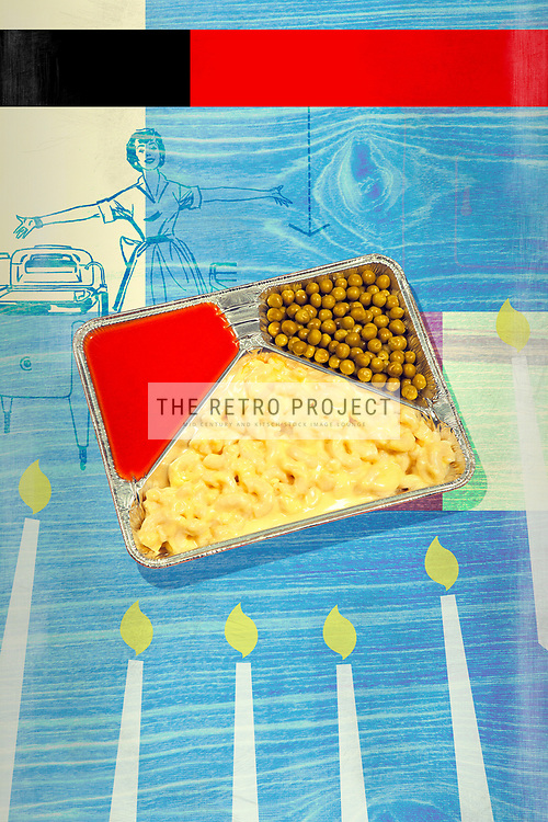TV Dinner, Tray, Meal, Retro, Kitsch, Advertising, Illustration,  Macaroni cheese peas tomato soup ready meal with candles housewife illustration and textured blue wood background