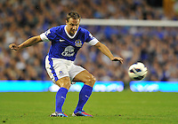 Everton's Phil Jagielka on the ball..Football - Barclays Premiership - Everton v Manchester United - Monday August 20th 2012 - Goodison Park - Liverpool..