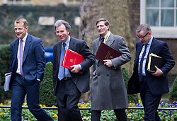 © Licensed to London News Pictures. 07/01/2013. London, UK. L to R Minister of State for Schools David Laws, Minister of State at the Cabinet Office Oliver Letwin, Attorney General Dominic Grieve and Education Secretary Michael Gove on Downing Street in London today (07/01/13) before the first cabinet meeting of 2013. Photo credit: Matt Cetti-Roberts/LNP