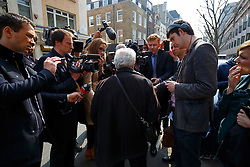 © Licensed to London News Pictures. 08/04/2015. LONDON, UK. Gerald Landen, a Hatton Garden burglary victim talking to media after finding out he lost many jewellery items at the burglary over Easter weekend at Hatton Garden Safety Deposit Ltd in London on Wednesday, 8 April 2015. Police believes that approximately 60 - 70 safety deposit boxes were opened during the burglary over Easter weekend. Photo credit : Tolga Akmen/LNP