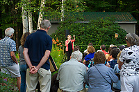 """Senator Elizabeth Warren speaks to the crowd gathered at the home of Edie and Paul DesMarais in Wolfeboro for a """"House Party"""" on Wednesday evening.  (Karen Bobotas/for the Laconia Daily Sun)"""