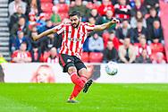 Alim Öztürk of Sunderland (5) passes the ball during the EFL Sky Bet League 1 first leg Play Off match between Sunderland and Portsmouth at the Stadium Of Light, Sunderland, England on 11 May 2019.