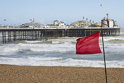 June 6, 2018 - Brighton, East Sussex, United Kingdom - Brighton, UK. Gale force winds have been hitting the seaside resort of Brighton and Hove throughout the day. Danger signs and red flags have been warning visitors to stay away from the water. (Credit Image: © Hugo Michiels/London News Pictures via ZUMA Wire)