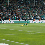 Bursaspor's Volkan Sen (C) scores during the Turkish soccer super league match Bursaspor between Fenerbahce at the Ataturk Stadium in Bursa Turkey on Monday, 24 November 2014. Photo by Aykut AKICI/TURKPIX