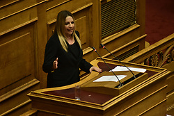 June 16, 2018 - Athens, Attiki, Greece - Fofi Genimata, leader of Democratic Coalition, during her speech in Hellenic parliament. (Credit Image: © Dimitrios Karvountzis/Pacific Press via ZUMA Wire)