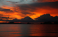 Sunset on Phang Nga Bay/ Andaman Sea, Thailand.