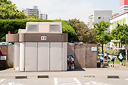 Japanese school children at a public toilet in Yokosuka