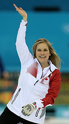 The XXII Winter Olympic Games 2014 in Sotchi, Olympics, Olympische Winterspiele Sotschi 2014<br /> Sochi, Krasnodar Krai, Russia. Canada skip Jennifer JONES  during the final of the Women's Curling competition from the Ice Cube Curling Centre, Coastal Clustre - XXII Olympic Winter Games