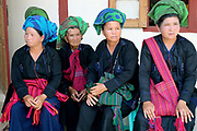 PaO ethnic minority women at the PaO National Day on 24th March 2016 in Kayah State, Myanmar. The PaO origin story states that they are derived from a shaman, Zawgyu, and a female dragon so the women fashion their turban to resemble a dragons head